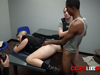 skinny criminal gets his cock sucked by horny milf cops
