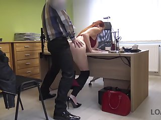 loan4k. big-tittied hottie with red hair is owned by loan manager