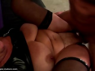 kinky granny gets warm creampie from young slave