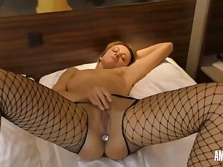 lisslonglegs: plug in ass and pussy jerk off