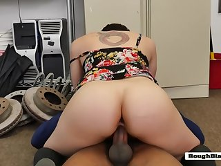 white hooker sucks huge black shlong in office