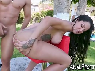 elisa sanchez deepthroats a guy and takes it in her fat ass