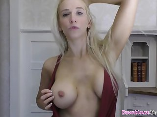 hot blonde winking and raillery with her tits out